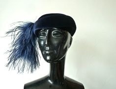 "Flamboyant  Vintage Hat // Navy Blue Pillbox with Large Feather  // Size 20.5"" on Etsy, $24.57"