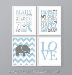 blue gray personalized baby decor gift for new parents baby boy birth stats birth details new baby print birth sign boy nursery birth art by PinkeeArt, $29.00