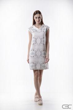 Ss 15, Summer Collection, Blue Dresses, Identity, Kimono, White Dress, Metallic, Spring Summer, Printed