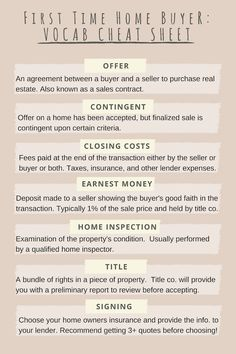 First Time Home Buyer: Vocab Cheat Sheet – Lou Realty Group Real Estate Business Plan, Real Estate Exam, Real Estate Buyers, Real Estate Quotes, Real Estate License, Real Estate Tips, Real Estate Investing, Real Estate Humor, First Time Home Buyers