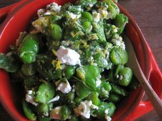 Broad bean salad with lemon, mint and goat cheese
