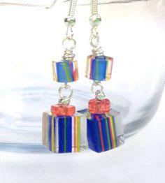 Little Gift Dangle Earrings Blue Cane Glass Drop by ZhiJewelry