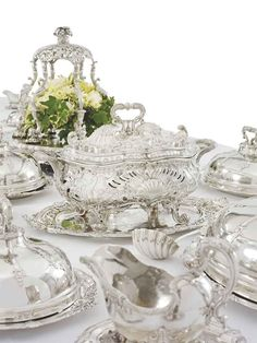 THE LEINSTER SERVICE A GEORGE II SILVER DINNER-SERVICE MARK OF GEORGE WICKES, LONDON, 1745-1756  Price realised GBP 1,721,250 USD 2,685,150