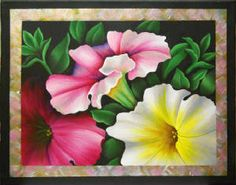 Pretty Petunias Painted Canvas by Jillybean Fitzhenry