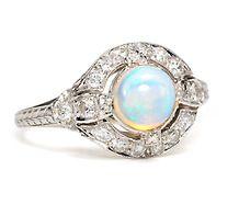 Art Deco Opal Platinum Ring of 1923