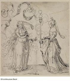 """""""Zwei Mädchen auch: Allegorie auf die Liebe"""" (Two girls also: Allegory of Love), 1510. Niklaus Manuel gen. Deutsch."""