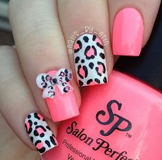 Neon pink leopard bow nails