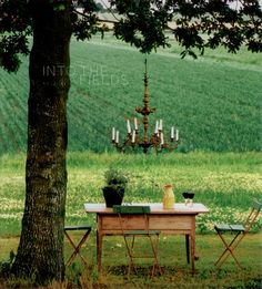 Wood Table Chandelier Green Fields