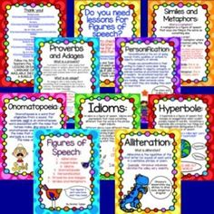 FREE Figurative Language, Figures of Speech Poster Set! Alliteration, Hyperboles, Idioms, Onomatopoeia, Personification, Proverbs and Adages, and Similes and Metaphors. Each poster includes a brief description and example.