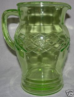 Glass Pitchers, Water Pitchers, Vintage Green Glass, Antique Glassware, Vaseline Glass, Vintage Bottles, Glass Collection, Shades Of Green, Glass Art