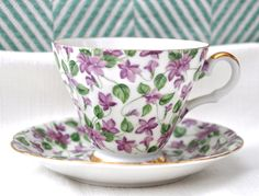 Chintz China Teacup and Saucer by Lefton China.