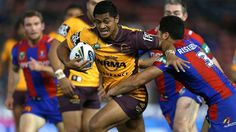 Anthony Milford of the Broncos makes a charge at Hunter Stadium. A Jack Reed try either minute of halftime has helped Brisbane surge to a 31-18 NRL win over Newcastle at Hunter Stadium on Monday night.