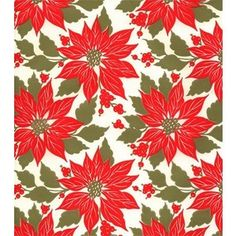 Vintage Christmas Wrapping Paper ~ Poinsettia's