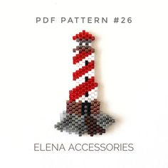 Lighthouse sea brooch necklece PDF pattern for miyuki delika brick stitch peyote seed beads PDF file includes A bead legend color and numbers of beads needed A large de. Bead Embroidery Patterns, Bead Crochet Patterns, Beading Patterns Free, Seed Bead Patterns, Beaded Bracelet Patterns, Peyote Patterns, Beading Tutorials, Weaving Patterns, Loom Beading