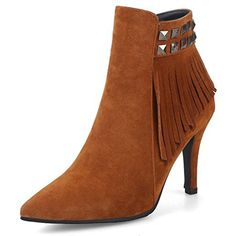 Women's Elegant Studded Fringe Zip Up Pointed Toe Ankle Boots With Heels *** Be sure to check out this awesome product. (This is an affiliate link) #AnkleBootie