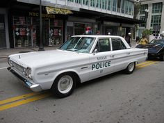 Vintage Plymouth Police Car At Downtown Miami