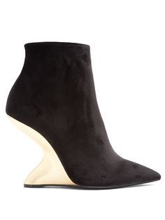 SALVATORE FERRAGAMO | Bolgheri velvet F-wedge ankle boots #Shoes #Boots #SALVATORE FERRAGAMO