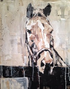 horse painting, mixed media, carrie penley