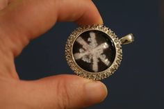 Photo of Snowflake in Key Chain Under Glass - NOT A REAL SNOWFLAKE - Bitcoin accepted by PreservedSnowflakes