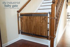 Here's a complete tutorial to learn how to make a baby gate. This industrial style DIY Baby Gate is a great way to make your own custom baby gate to fit your home that fits your style and not take up a lot of room. Barn Door Baby Gate, Diy Baby Gate, Pet Gate, Doggie Gates, Barn Doors, Industrial House, Industrial Style, Industrial Pipe, Custom Baby Gates