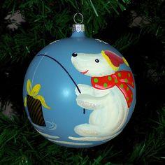 Glob de sticla cu urs polar | Fuleki Glass Glass Christmas Ornaments, Christmas Bulbs, Glass Ball, Balls, Holiday Decor, Home Decor, Decoration Home, Christmas Light Bulbs, Room Decor
