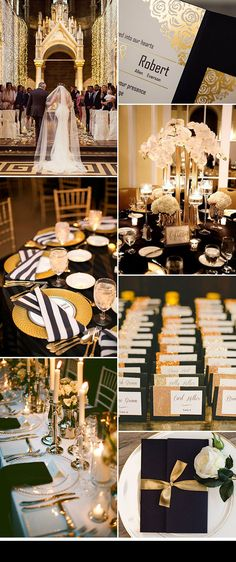 black and gold glamorous wedding ideas with invitations