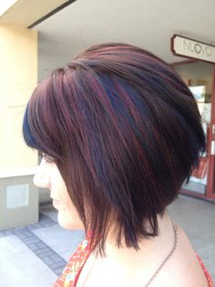 brown bob with purple hilights | ... colors, brown hair, purple hair, blue hair, short bob, short hair