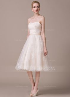 A-Line/Princess Sweetheart Knee-Length Satin Tulle Lace Wedding Dress With Ruffle (002058801)
