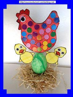 la poule rousse dans son nid qui couve son dernier oeuf à côté des deux poussins déjà sortis le tout sur un cd recouvert de paille avec un oeuf en polystyrène collé dessus et les coloriages sont fixés sur l'oeuf par des pics à brochettes création de Maïa 3 ans  cliquez sur le lien pour voir la réalisation  encore une nouvelle idée de nounoudunord, http://nounoudunord.centerblog.net/4650-poule-dans-son-nid-qui-couve-a-cote-des-2-poussins-2017