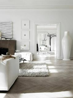 Pale Parquet Flooring works this White Colour Scheme beautifully. Source: Living Etc Magazine Issue June 2013 Living Etc Magazine, Hall Flooring, Parquet Flooring, Floors, White Room Decor, Sweet Home, Home Upgrades, White Houses, Home Staging