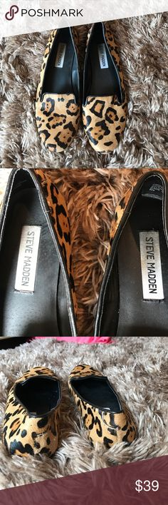 **FINAL SALE** Steve Madden Leopard Flats size 7 Steve Madden Faux Leopard Print Flats worn one time, size 7. Steve Madden Shoes Flats & Loafers