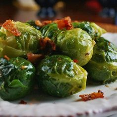 "Garlic Brussels Sprouts with Crispy Bacon | ""Fantastic! I used the grease from the bacon and omitted the extra butter at the end. I wanted to eat the whole pan!"""