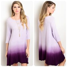 Stunning! purple/lavender ombré dress! LAST ONE! Love this piece! Soft knit material- 3 qtr sleeves- asymmetrical hemline in beautiful ombré - oversized for a flowy look! Dresses
