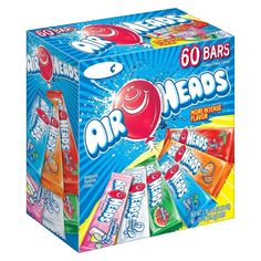There are 60 Airheads bars in every box. These aren't your parent& Airheads! We've worked REALLY hard to make our bars softer and the flavors more intense. We know you'll fall in love with them all over again. All items are Peanut-free and inc Chewy Fruit Candy, Best Halloween Candy, Airheads Candy, Taffy Candy, Laffy Taffy, Rhubarb Cake, Candy Brands, Zucchini Cake, Favorite Candy