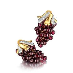 Verdura | briolette rhodolite garnet, diamond, platinum and gold, | EARCLIPS | GEMSTONE | Grape Earclips