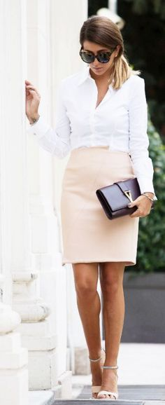 M. Bottiglieri Nude Stretch Knit Pique Pencil Skirt by Scent Of Obsession