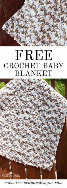 Free Crochet Baby Blanket Pattern Fast And Easy Crochet Baby Blanket! Made with Chunky Bernat Baby Blanket Yarn! Easy, quick crochet baby blanket Easy Beginner Baby Blanket by Rescued Paw Designs Crochet Baby Blanket Free Pattern, Crochet Baby Blanket Beginner, Bernat Baby Blanket, Easy Baby Blanket, Blanket Yarn, Crochet Blankets, Beginner Crochet, Baby Afghans, Crochet Bebe