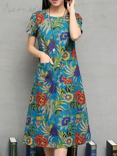 2017 Summer New Fashion Women Dress O-neck Pullover Short sleeve Cotton&linen Dress Printing Loose Big yards Chinese Dress Floral Fashion, Denim Fashion, Modest Fashion, Women's Fashion Dresses, Cotton Dresses Online, Moda Floral, Maternity Dresses Summer, Frock For Women, Frock Dress