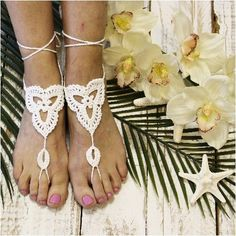 BLUSH crochet barefoot sandals Barefoot and Crystal wedding
