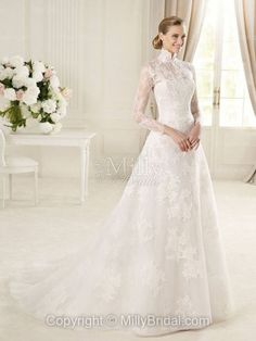 Lace Organza High Collar A-line Style With Lace Wedding Dress 2013