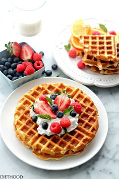 Cream Cheese Waffles with Honey Whipped Cream | www.diethood.com ...
