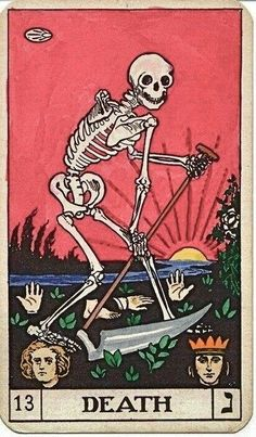 What Are Tarot Cards? Made up of no less than seventy-eight cards, each deck of Tarot cards are all the same. Tarot cards come in all sizes with all types of artwork on both the front and back, some even make their own Tarot cards Tarot Death, La Danse Macabre, Posters Vintage, Vintage Art, Art Carte, Art Graphique, Memento Mori, Skull Art, Dark Art