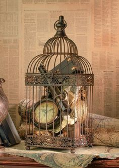 Bird Cages For Decor - fill with precious treasures styled for the coffee table,mantle or bedroom. This could easily be done with some lanterns also.