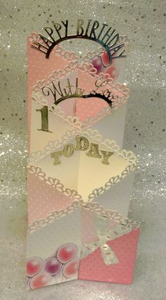 Happy Birthday 1 today zig zag card design made using Tattered Lace dies.
