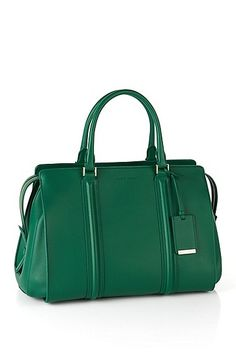 Leather handbag: 'Berlin 30' , Open Green