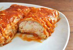 Seafood Enchiladas with Imitation Crab Sea Food Salad Recipes, Crab Meat Recipes, Mexican Food Recipes, Mexican Dishes, Publix Seafood Salad Recipe, Cajun Recipes, Spinach Recipes, Turkey Recipes, Sauce Recipes