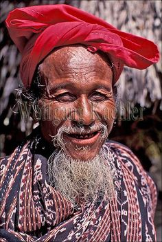 Indonesia, sawu (Seba) Island village, portrait of local man in traditional ikat clothing