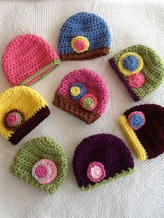Baby Hat Set Crochet Baby Hat with Flower by LakeviewCottageKids, $36.00