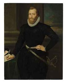 Circle of Marcus Gheeraerts II (Bruges c. 1561-c. 1635 London?)  Portrait of a gentleman, formerly identified as Sir Walter Raleigh; inscribed 'AEta. 48.' (upper left) and with date '1603' (upper right)
