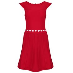 Neonice Red Wavy Collar Hollow Skirt Bandage Dress H565R